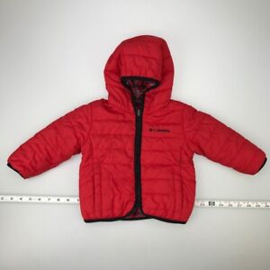 Columbia Double Trouble Reversible Quilted Jacket Red Hooded Baby 12-18 Months