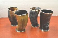 """Set of 4 Assorted OX Viking Drinking Horn Cup Mug chalice stein 6"""" beer wine ale"""