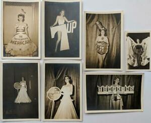 VINTAGE LOT of 7 PRETTY MODEL s in ADVERTISEMENT COSTUME ETHYL GAS 7UP SCHEIDTs