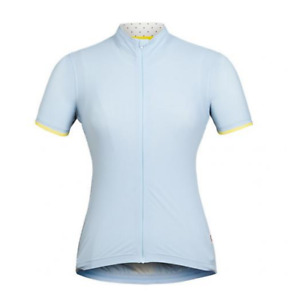 RAPHA The Souplesse Jersey Women's Light Blue, Yellow Trim, Full Zip, Size Small