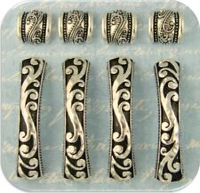 2 Hole Beads ROCOCO Baroque Fluted Raised Filigree Bars & Spacers ~Sliders QTY 8