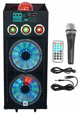 "NYC Acoustics N212A Dual 12"" 700w Powered DJ Party Speaker Bluetooth, Lights+Mic"