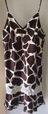 Victoria's Secret Brown & Cream Silk Animal Print Chemise Lingerie Medium