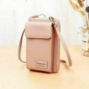 Multi-Function Crossbody Messenger Bag for Women Mini Phone Holder Purse Leather