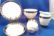 Vintage Art Deco ROYAL ALBERT Crown China - 20 piece Tea Set - Blue & Gilt - VGC