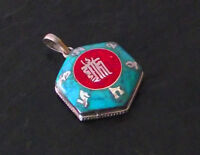 925er Silber Anhänger Amulett Mantra Türkis Mantra  Nepal Tibet Om