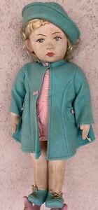 "Early Chad Valley 17"" Princess Elizabeth Cloth Doll Hygienic Made In England NM"