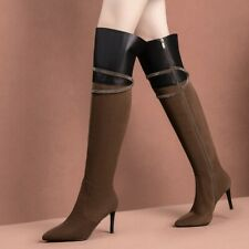 Women Pointy Toe Stilettos High Heels Rhinestones Over THe KNee Boots Shoes