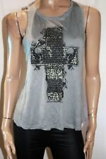 DOTTI Brand Grey Black Print Sleeveless Cross Back Tank Top Size S BNWT #SV56