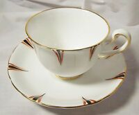 VINTAGE ROYAL CHELSEA ENGLISH BONE CHINA CUP AND SAUCER BLACK RUST GOLD TRIM
