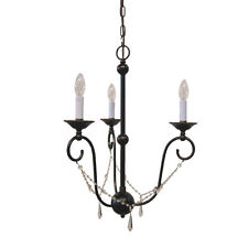 Old Bronze And Crystal 3 Light Chandelier