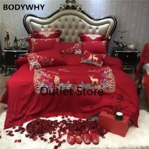 Embroidery Bedding Sets Quilt Cover Bed Sheet Bed Cover Set Wedding  4/6/9pcs