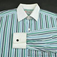 TURNBULL & ASSER Green Blue Striped 100% Cotton FRENCH CUFF Dress Shirt - 16