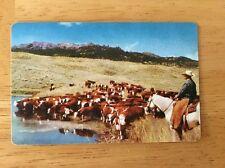 Burlington Route Pocket 1959 Calendar/ Ruler Cowboy Roundup Scene