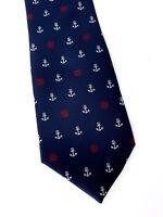 Vintage Microfiber Necktie Tie - Woven Anchors Red White Blue