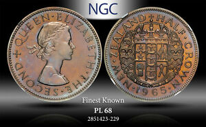 1965 NEW ZEALAND 1/2 CROWN NGC PL 68 FINEST KNOWN TONED COIN