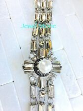 "Boutique Vintage Style Glass Crystal Pearl Link Statement Bracelet Dress 8"""