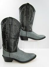 Men's Old West Exotic Print Black Blue Leather Cowboy Western Boots Size: 8.5 D