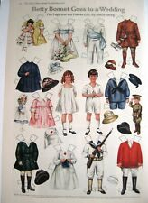 "1918 Paper Dolls by Sheila Young ""Betty Bonnet Goes to a Wedding"" - Uncut *"