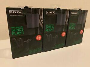 Flexson Sonos Play:1 Wall Mount Bundle - Black - Save £££££ on normal price