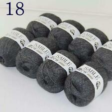 Sale 8 Skeins Super Pure Sable Cashmere Scarves Hand Knit Wool Crochet Yarn 18