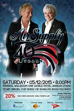 """AIR SUPPLY """"40 YEAR"""" 2015 MALAYSIA CONCERT TOUR POSTER - Soft/Pop Rock Music"""