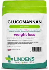 **Lindens Glucomannan Konjac Fibre 3000mg (90) Weight Loss