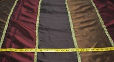 """Wine/Brown/Antique Brass Striped - 108"""" Wide Taffeta Fabric - Sold by the Yard"""