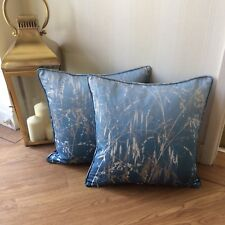 "HARLEQUIN CLARISSA HULSE MEADOW GRASS FABRIC CUSHION COVER INDIGO & DENIM 16""x16"