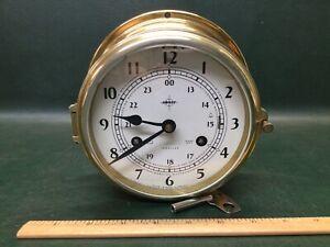 Vtg SWIFT Brass Ship Nautical 8 Day Clock w/ Key ~ West Germany ~ Needs Service