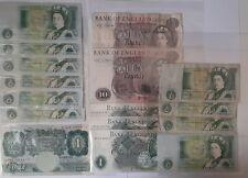 More details for old vintage british banknotes 2 x £10 notes, 14 x £1 notes