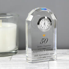 Personalised 25th 40th 50th Wedding Anniversary Crystal Clock Ruby Silver Golden
