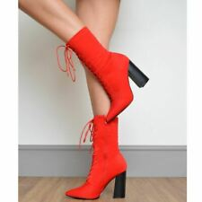 Womens High Heels Lace Up Stretch Ankle Boots Sexy Winter Designer Shoes Size