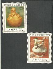 Peru: 1989; Scott 968-969 América issue UPAEP emblem + Columbian EBPE03