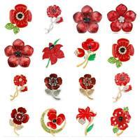 *UK Shop* GOLD SILVER ENAMEL CRYSTAL RED ROSE FLOWER POPPYS BROOCH PIN BADGE BUD