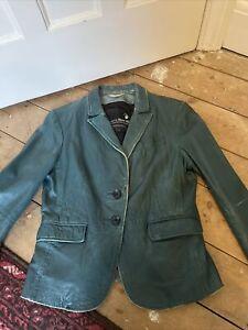 Goosecraft Leather Blazer Jacket Large, 14, Teal Green Blue