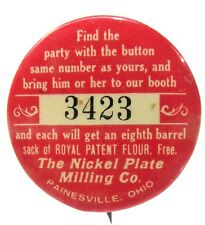"""early NICKEL PLATE MILLING Painesville Ohio flour 1.5"""" pinback Button ^"""