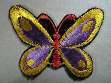 Gold Butterfly Purple inside Old Vintage Sew On Patch Retro Embellishment Cool