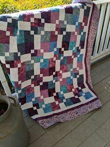 """City Block Batik Quilt-Handmade Quilt-Throw Size Quilt-60"""" x 70"""""""