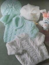 BS003 KNITTING PATTERN BABY JACKET, SWEATER HAT AND BERET  TO FIT 16 TO 22 ARAN