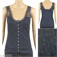 New Ladies Blue Lace Casual Vest Top Size 8 - 14 Scoop Neck Sleeveless
