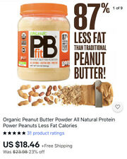 Organic Peanut Butter Powder All Natural Protein Power Peanuts Less Fat Calories