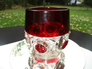 EAPG RUBY GLASS SUGAR BOWL RICHMOND BEVILED BUTTONS