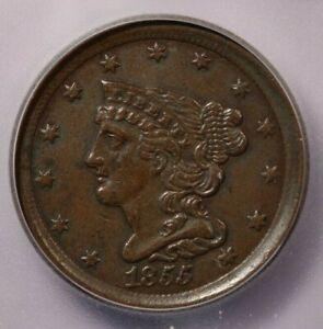 1855-P 1855 Braided Hair Half Cent ICG AU55