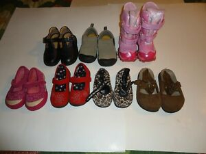 (7) Pair Toddler Girls Shoes - Size 7 and Size 7.5 - Lot of Casual, Dress, Boots
