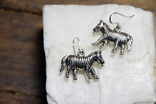 925 sterling silver earrings charm Wild Zebra pewter charm African Safari
