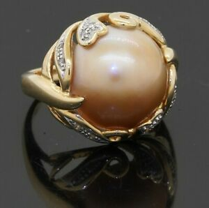 14K YG 0.12CT diamond & 14.25mm Golden Mabe pearl cocktail ring size 7