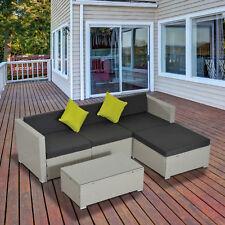 Outsunny 5pc Wicker Furniture Outdoor Rattan Sofa Set Patio Sofa Coffee Table