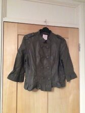 Romeo & Juliet Couture Khaki Green Grey Faux Leather Jacket Size M 8 10 BNWT New