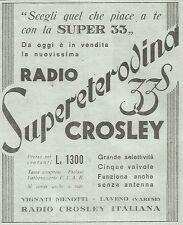 W7030 Radio Crosley - Supereterodina 33 S - Pubblicità del 1933 - Vintage advert